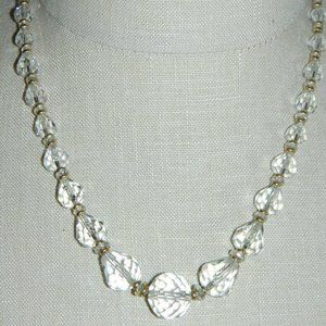 Gold Tone Faceted Clear Cut Crystal Necklace